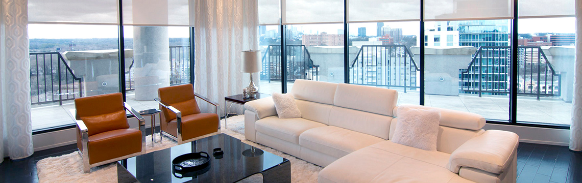 High-rise penthouse automated window shades.
