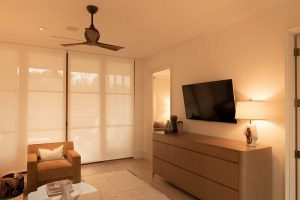 Automated window treatments for your luxurious sitting room.