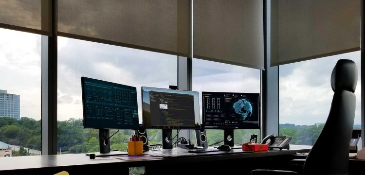Picture of high-rise corner office automatic shades